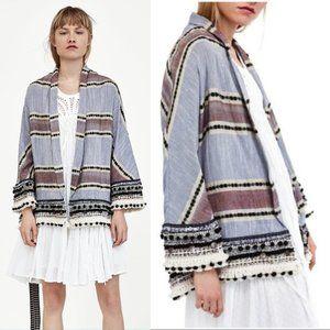 Zara Blue Striped Open Boho Kimono Cardigan